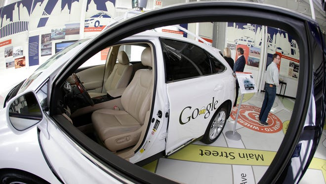 A Google self-driving car in an exhibit May 14, 2014, at the Computer History Museum in Mountain View, Calif.