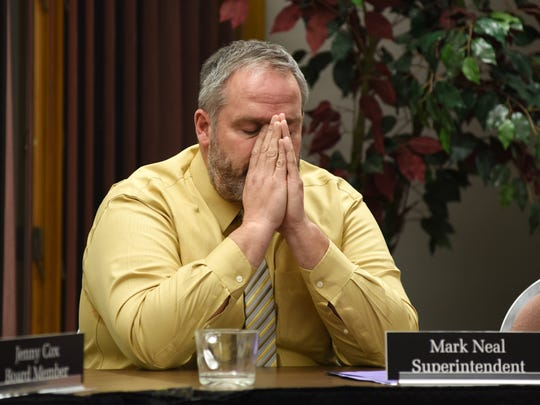 Tri-Valley Local Schools Superintendent Mark Neal takes a moment to absorb the discussion surrounding Jason Schaumleffel's behavior.