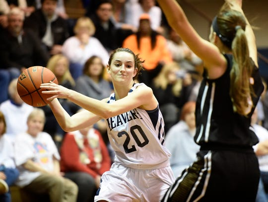 Lebanon Catholic's Hannah Callihan looks inside to