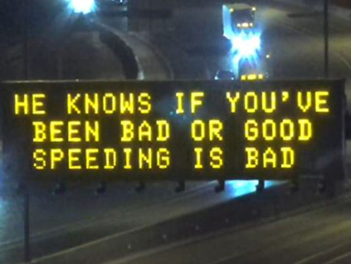 One of four holiday-themed freeway signs the Arizona