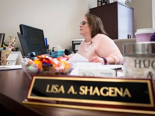 Fort Gratiot Township Assessor Lisa Shagena works on