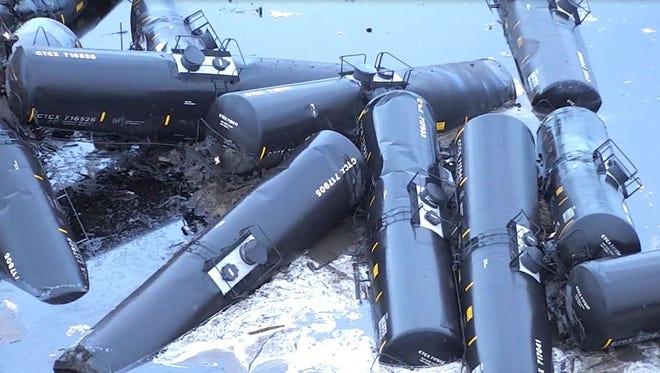 A train containing crude oil derailed near Doon in Northwestern Iowa.
