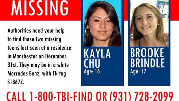 The TBI is helping in the search for two missing teens. Spot Kayla Chu or Brooke Brindle? Call 1-800-TBI-FIND.