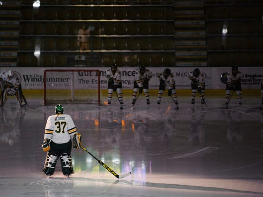 Catamount goalie Sydney Scobee (37) during player introductions