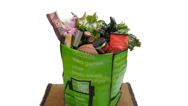 A bag of groceries from Amazon Fresh, Amazon's perishable grocery delivery service available in Seattle, northern and southern California and New York.