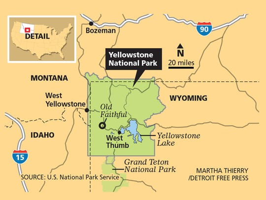 Yellowstone contains 3,472 square miles of park land