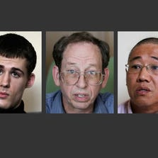 North Korea gave foreign media access on Monday to three detained Americans who said they have been able to contact their families.  from left, Mathew Miller, Jeffrey Fowle and Kenneth Bae