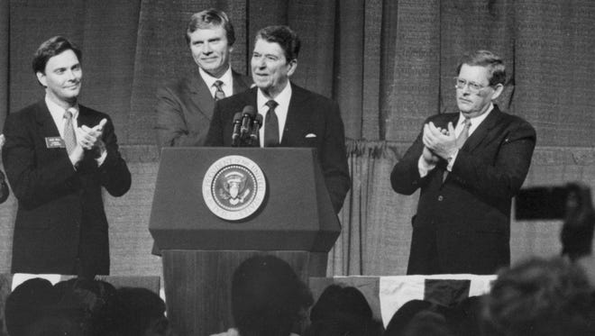 During a campaign stop in Sioux Falls on Sept. 30, 1986, then South Dakota Gov. Bill Janklow, fourth from left, was onstage with, from left, U.S. House candidate Dale Bell, candidate for governor George Mickelson and President Ronald Reagan