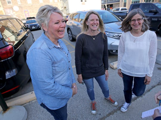 Bon Jovi fans (from left) Laura Drath, of Ogdensburg, Jean Stockwell, of Scandinavia,  and Sharon Yeska, of Wild Rose, talk about their memories of the Bradley Center.