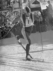 Bill Koch of Guilford, Vt., crosses the finish line to win the silver medal in the men's 30-kilometer cross-country skiing race in the Winter Olympics at Seefeld, Austria, Thursday, Feb. 5, 1976.