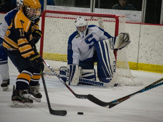 Lined up for the shot by Trenton's Drew Welsch (No.
