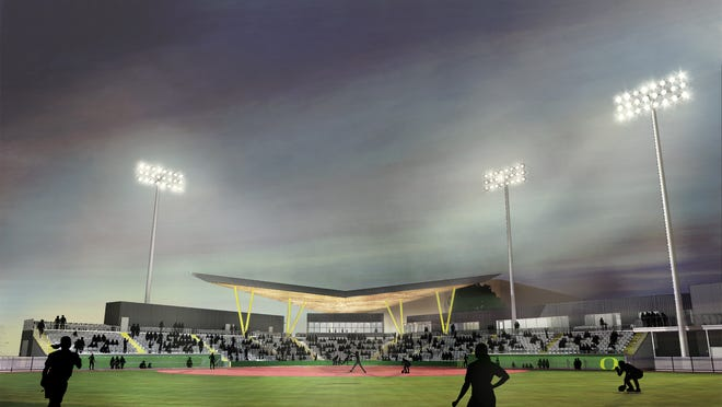 A rendering of Jane Sanders Stadium, the new home of the Oregon softball team. Construction on the stadium will begin after this season.