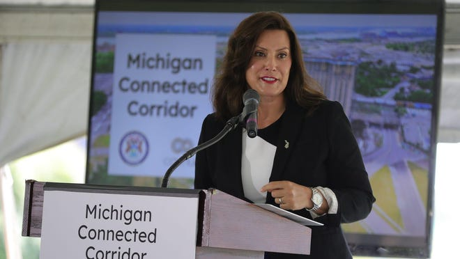Gov. Gretchen Whitmer talks about the infrastructure for a new Michigan Connected Corridor for self-driving cars that will run between Ann Arbor and Detroit on Aug. 13. The federal government has charged six people with conspiring to kidnap Whitmer, according to newly unsealed court records.
