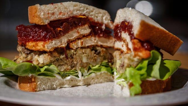 The Pilgrim sandwich at Veg Eats in Delray Beach, Fla., a vegan restaurant that serves a menu of comfort food dishes prepared by owner Jade Mason of Boynton Beach.