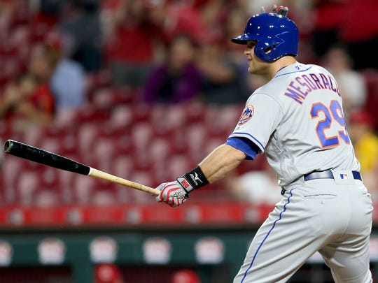 New York Mets catcher Devin Mesoraco (29), who was traded from the Cincinnati Reds shortly before the game, pinch hits in the ninth inning during a National League baseball game between the New York Mets and the Cincinnati Reds, Tuesday, May 8, 2018, at Great American Ball Park in Cincinnati. Cincinnati won 7-2.