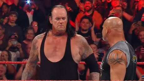 The Undertaker and Goldberg stare down at the end of last week's Raw.