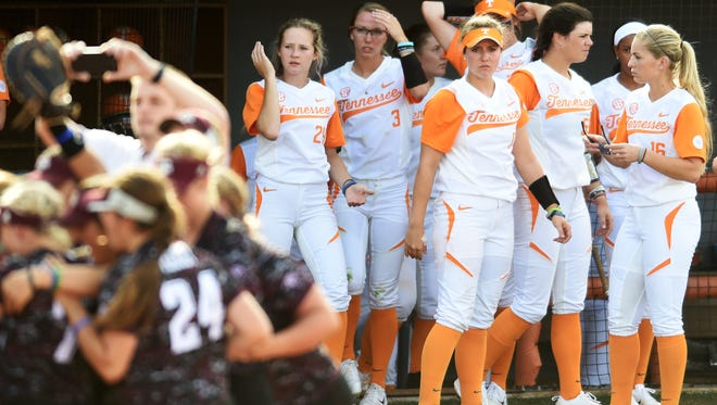University of Tennessee players react to losing their final NCAA Super Regional game against Texas A&M at Sherri Parker Lee Stadium on Sunday, May 28, 2017. Texas A&M defeated Tennessee 5-3, and will head to Oklahoma City for the NCAA Women's College World Series.
