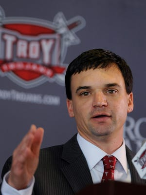 Neal Brown speaks after he is announced as the new head coach at Troy University in Troy, Ala. on Monday December 1, 2014.