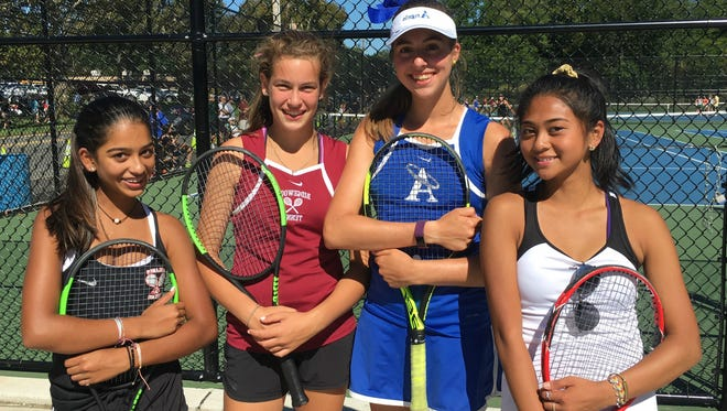 Bergen County Large-Schools First-Singles semifinalists, from left to right: Northern Highlands Riya Ravi, Ridgewood's Alana Kerner, Holy Angels' Ashley Hess, and Paramus Catholic's Samantha Lugtu on Saturday, Sept. 23, 2017 at Demarest.