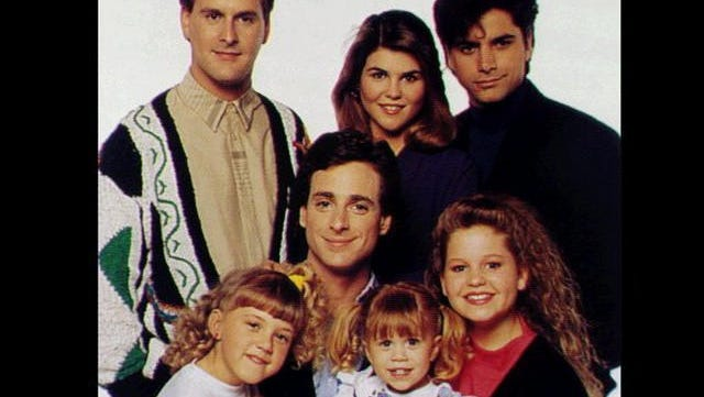 """""""Full House"""" cast: (front) Jodie Sweetin, Bob Saget, Mary Kate Olsen, Candice Cameron, (back) Dave Coulier, Lori Loughline and John Stamos"""