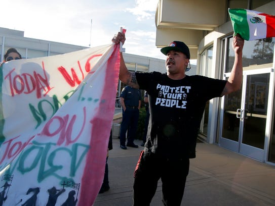 Israel Villa demonstrate for immigrant rights at Salinas
