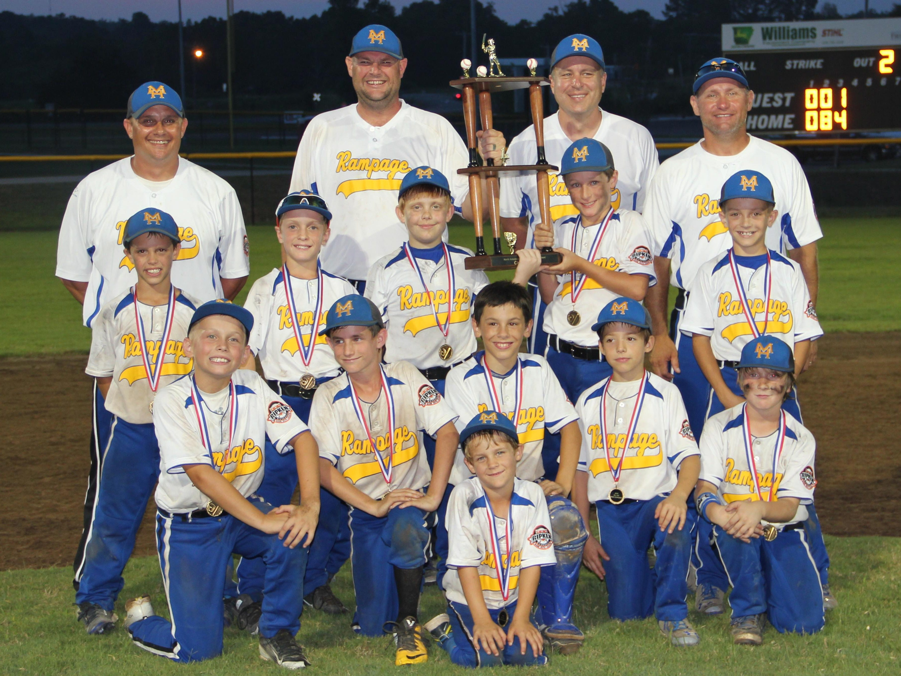 The Mountain Home Rampage 9-year-old All-Stars won the Cal Ripken North Arkansas State Championship for the second straight season Sunday in Batesville. The Rampage defeated Rogers 12-0 and Bentonville 17-2 in pool play to take a No. 1 seed into bracket play Sunday. Mountain Home then defeated Bentonville 12-2, Batesville 5-0 and Delta 12-1 in the championship. Team members are: front, bat boy Koen Bickford; second row, from left, Cade Yates, Ky Bickford, Ike Barrow, Aidan Sanders, McGee Harris; third row, Ashton Lemmons, Will Mooney, Brady Lance, Ty Tilton, James Douglas; fourth row: coaches Chris Lemmons, Jake Bickford, Kenny Sanders and Jimmy Yates.