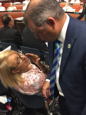 Office of Motor Vehicles Commissioner Karen St. Germain and Rep. Chad Brown, D-Plaquemine, discussed his bill during a recent House Transportation Committee meeting.