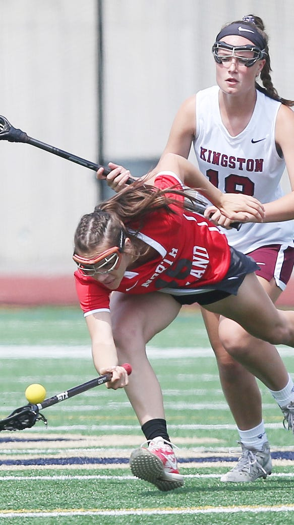North Rockland's Ashley Morales (16) dives for a loose