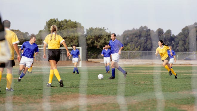 Soccer teams play on a grass soccer field in this undated photo.