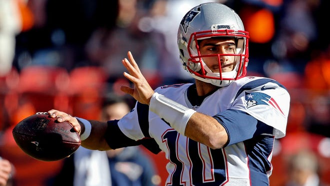New England Patriots quarterback Jimmy Garoppolo (10) before the game against the Denver Broncos in the AFC Championship football game at Sports Authority Field at Mile High.