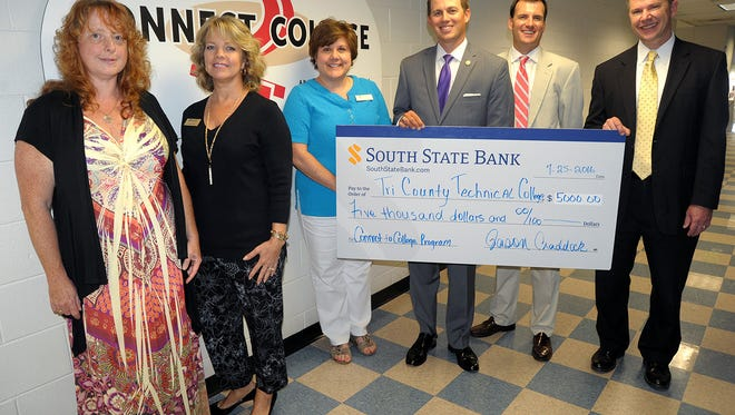 Shown from left are: Tiffany Carpenter, support specialist for C2C; Tammy Fiske,  director of annual giving at Tri-County; Cindy Mobley, director of C2C; Grayson Kelly, executive director of the College's Foundation; Jason Craddock, vice president for commercial lending, South State Bank; and Jimmy Lindsey, regional president, South State Bank.