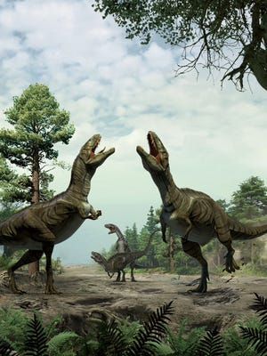 Reconstruction of theropods engaged in scrape ceremony display activity, based on trace fossil evidence from Colorado.