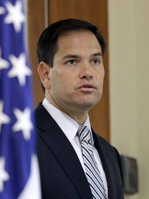 Sen. Marco Rubio, R-Fla., speaks at a news conference on June 3, 2016, in Doral, Fla.