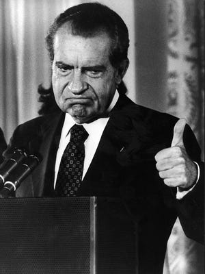 WASHINGTON, DC - AUGUST 9:  Republican president of the United States Richard Nixon thumbing up after announcing his resignation from the presidency after the Watergate scandal on August 9, 1974. Richard Nixon had been elected in 1968 and re-elected in 1972.  (Photo by AFP/Getty Images)