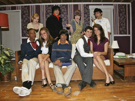 Martha O'Donovan in a picture from a play at Bridgewater-Raritan High School. Back row left to right: Eliza Ziek, Mike Muttie, Martha O'Donovan, Joe Hanna. Front row left to right: Zuri Patterson, Morgan Conroy, Pratheek Mangini, MikeFreyberger, Leandra Del Pozo
