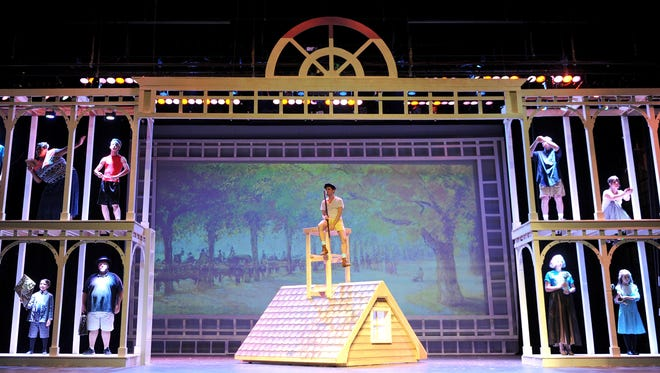 The cast of Mary Poppins begin a dress rehearsal Tuesday evening at the Renaissance Theatre. Mary Poppins runs 8 p.m. Saturday, 2:30 p.m. Sunday, 8 p.m. Aug. 7 and 8, 2:30 p.m. Aug. 9.