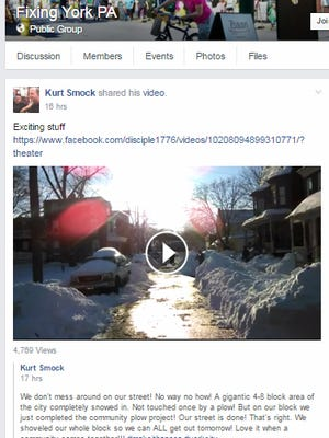 Kurt Smock of York posted a video showing how his Front Street neighborhood shoveled itself out on YDR's Fixing York Facebook group.