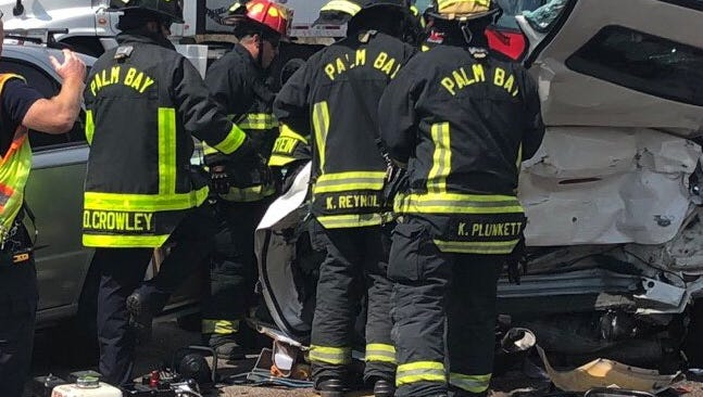 Palm Bay Fire Rescue crews respond to a crash that left multiple people injured on Interstate 95. Tuesday, March 20, 2018.