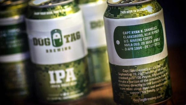 Each can produced by Dog Tag Brewing Co. features a fallen U.S. military person.