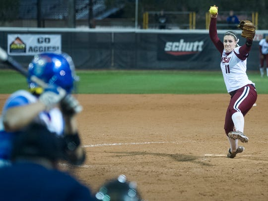 New Mexico State pitcher Makayla McAdams and the Aggies open the 2016 season this weekend at the NMSU Softball Complex.