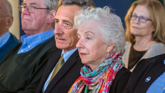 Governor Peter Shumlin and former Governor Madeleine Kunin at an organizational meeting for Hillary Clinton's presidential campaign in Burlington on  June 1.