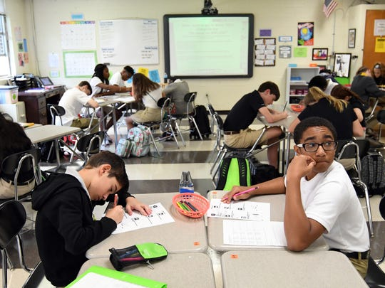 Oak Grove Middle School  seventh-graders complete a