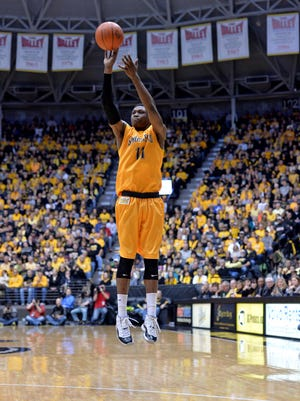Wichita State forward Cleanthony Early rises to shoot during the Shockers' victory against Evansville.