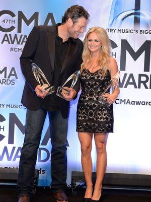 Blake Shelton and Miranda Lambert in the press room at the 47th annual CMA Awards at the Bridgestone Arena in Nashville.
