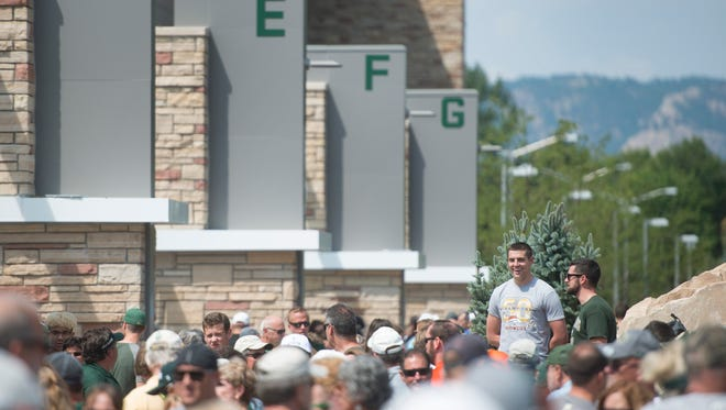 Fans wait for an open house at CSU's new on-campus football stadium on Saturday, August 5, 2017. More than 10,000 Rams fans got their first look at the facility with a concessions and amenities in operation.
