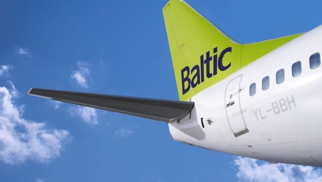 The tail section of one of airBaltic's planes.