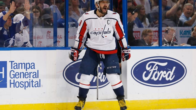 Capitals left wing Alex Ovechkin celebrates after scoring a goal against the Lightning  during Game 7 of the Eastern Conference final at Amalie Arena in Tampa, Fla.