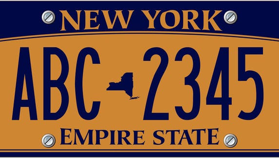 A rendering of a New York license plate.