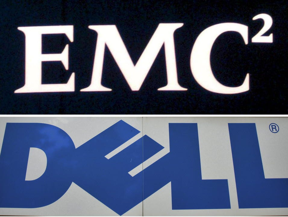 The logos of EMC Corp. and Dell.
