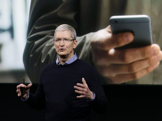Apple CEO Tim Cook, speaks at an event to announce